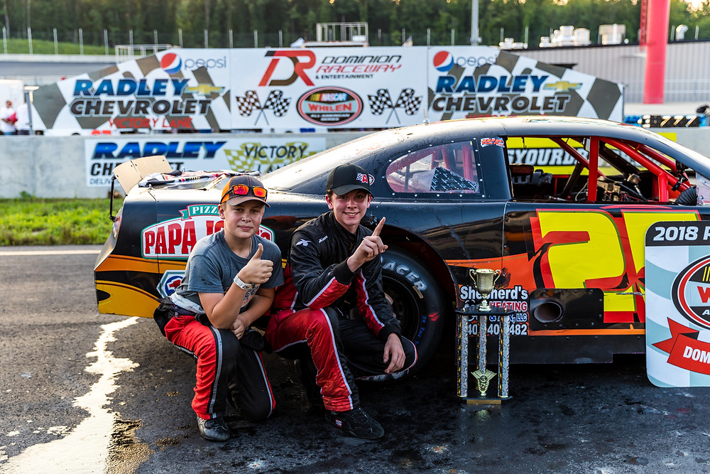 Peyton Ferree (left) along with Cole Bruce (right) at Dominion Raceway in Thornburg, VA
