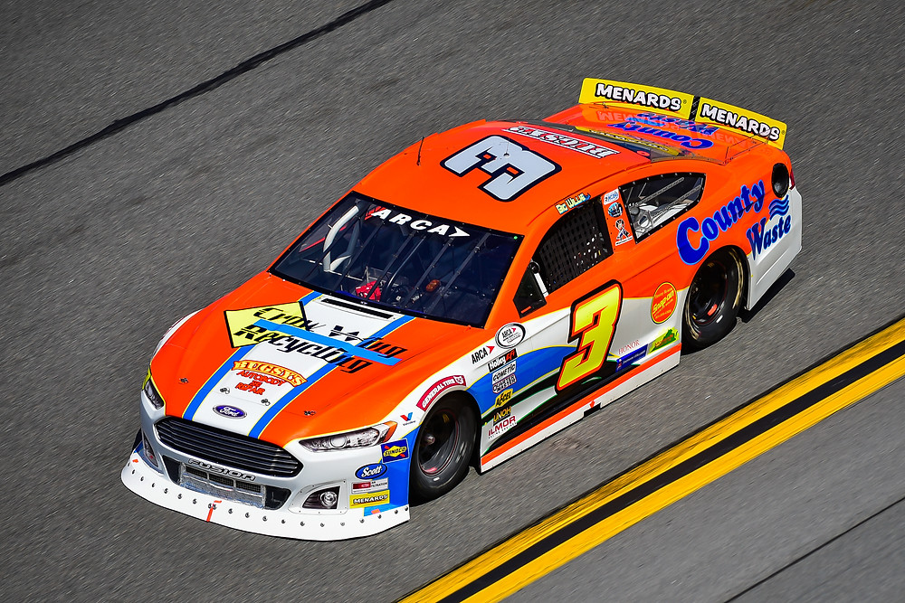 Willie Mullins in the County Waste Ford Fusion at Daytona International Speedway