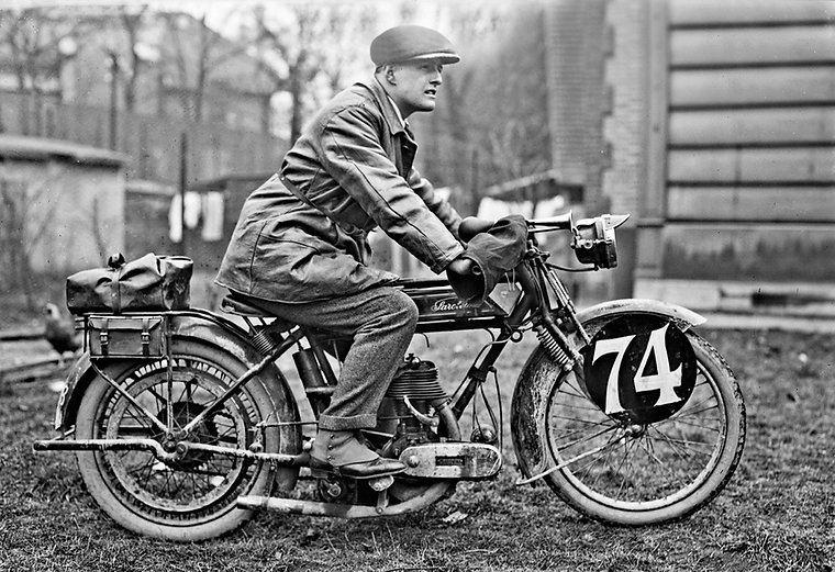 February 20th, 1924 Paris-Nice. L Barret on his Saroléa 500cc