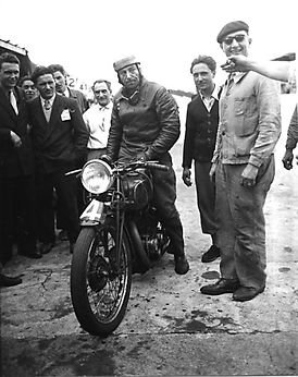 Fernand Venin with a 500cc Sarolea at the Bol d'Or in 1949