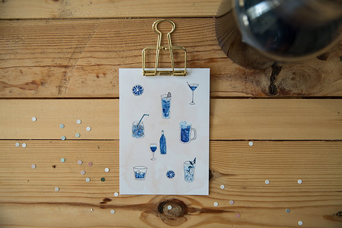Postkarte Drinks