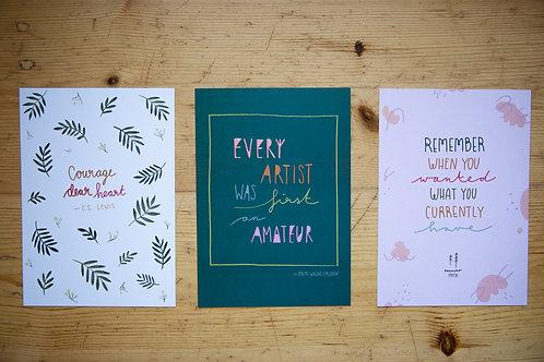 3er Set Prints A5 Motivation