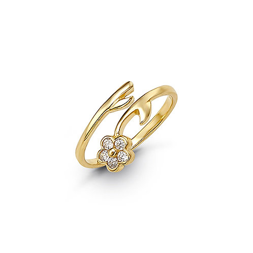 10kt Gold Toe Ring with CZ, Flower Design