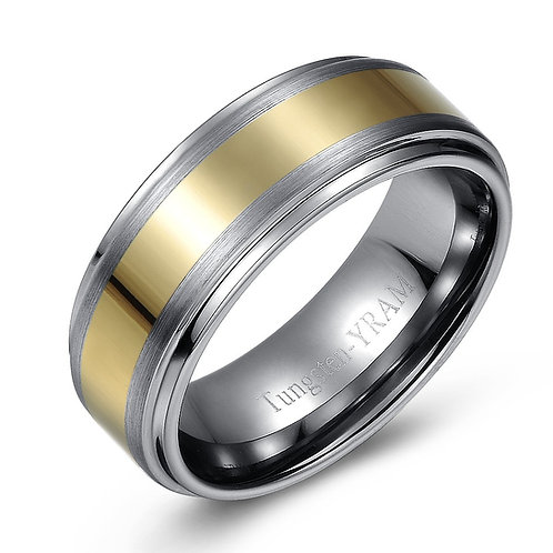 8mm Tungsten band with gold plated centre inlay