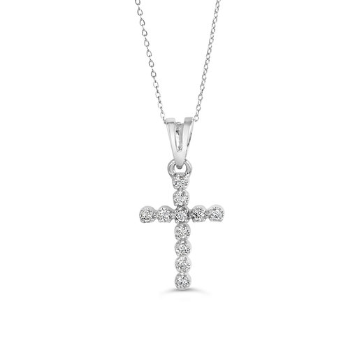 10K WG 0.11CT Diamond 4-Claw Cross with Chain