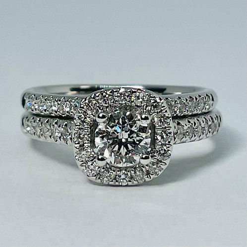 14kt White Gold Diamond Engagement Ring Set 1.00ctw