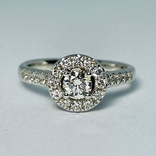 14kt White Gold 1.00ctw Diamond Engagement Ring Set