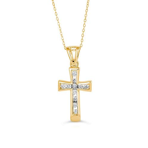 10K YG 0.13CT Diamond Channel Cross with Chain