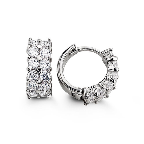 Sterling Silver CZ Huggies, Two Row