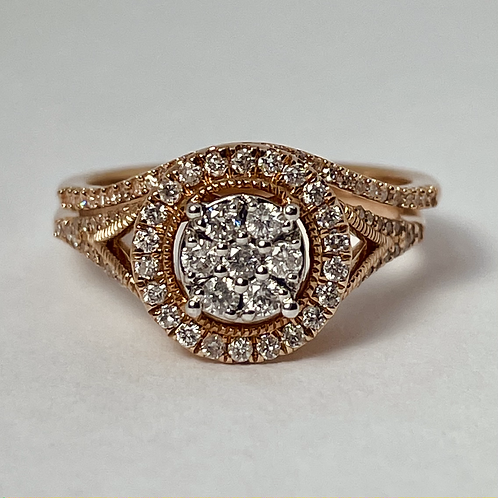 10kt Rose Gold Diamond Engagement Ring Set
