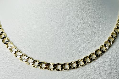 10kt Gold 2-Tone Diamond Cut Curb Chain