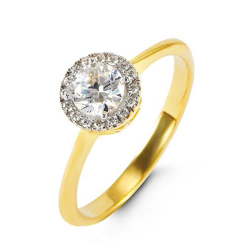 10kt Gold CZ Halo Ring (Glory Collection)