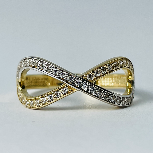 10kt 2-Tone Gold CZ Infinity Ring