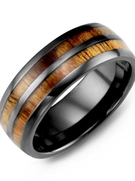 Men's Dome Double Koa Wood Ceramic Wedding Ring