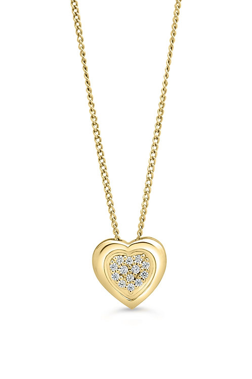 10K 0.05CT Diamond Pave Heart Pendant with Chain