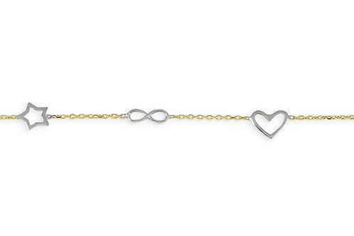 10kt Gold Baby Bella Charm Bracelet