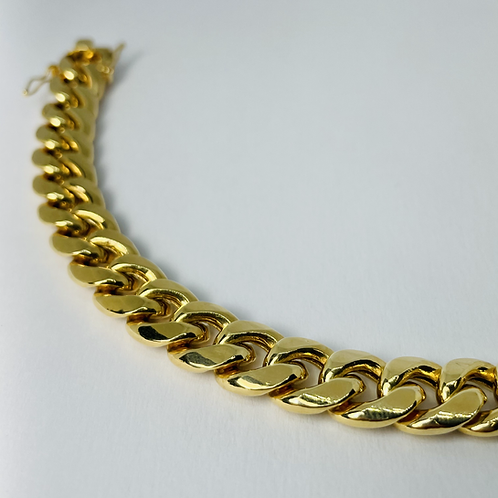 10kt Gold Miami Bracelet, Semi-Solid