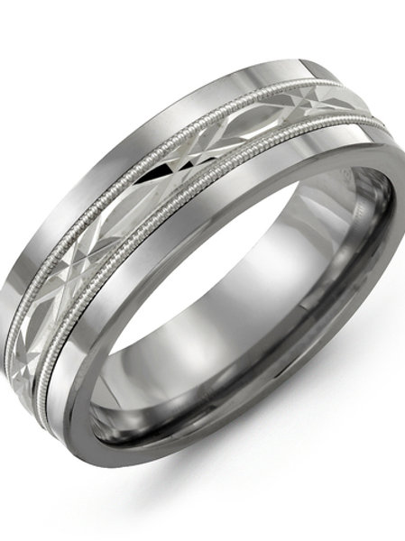 Madani Men's Classic Diamond Cut Milgrain Wedding Band
