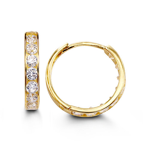14kt Gold Bella CZ Huggies (Large Size)