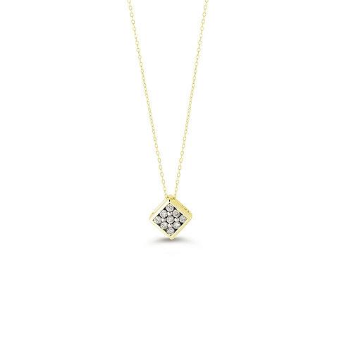 10K YG 0.13CT Diamond 9 Stone Illusion Pendant with Chain