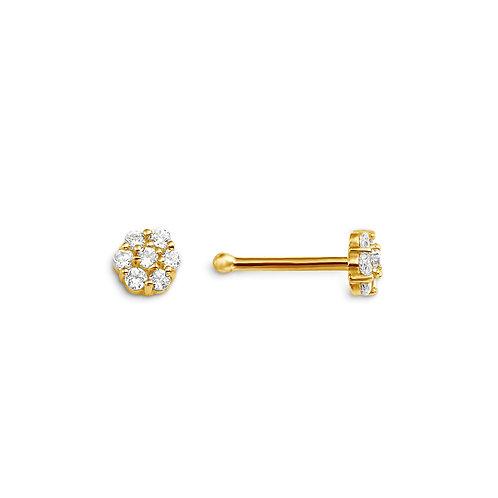 14kt Gold CZ Nose Pin, Floral Design