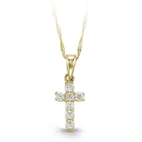 10kt Gold Baby Bella CZ Cross & Chain