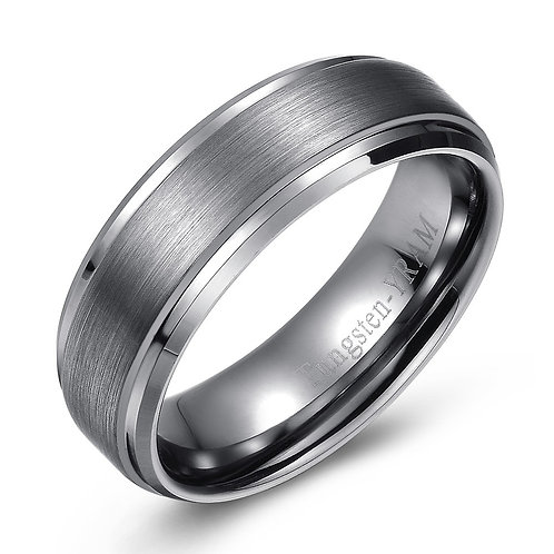 7mm Tungsten band with raised centre