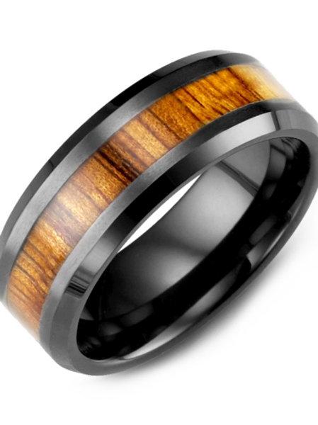 Men's Beveled Koa Wood Ceramic Wedding Ring