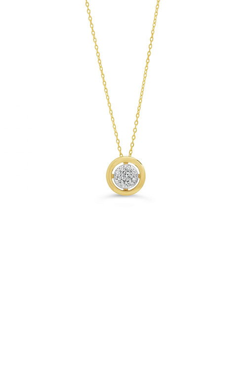 10K 0.05CT Diamond Pave Circle Pendant with Chain