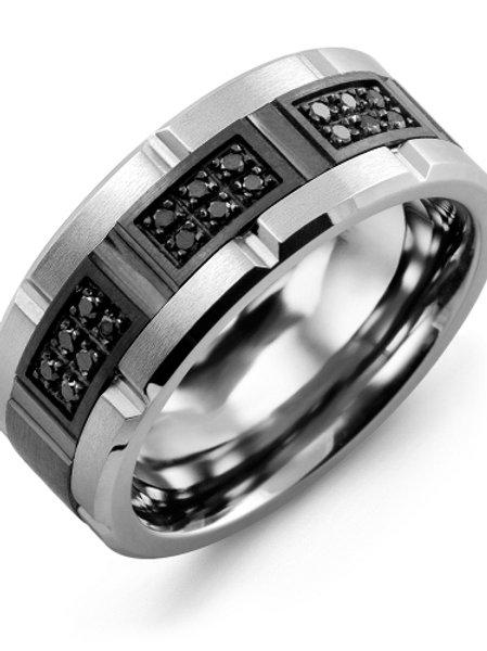 Men's Black Diamond Grooved Wedding Band