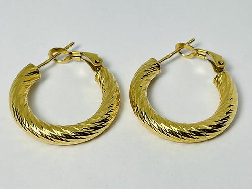 10kt Gold Diamond Cut Hoop Earrings