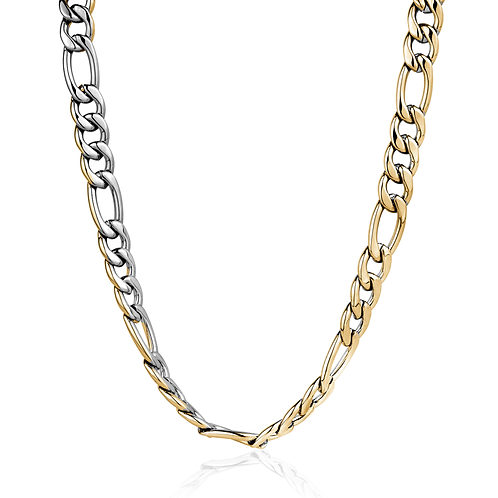 ITALGEM Gold Plated 2-Tone Stainless Steel 4.5mm Figaro Chain