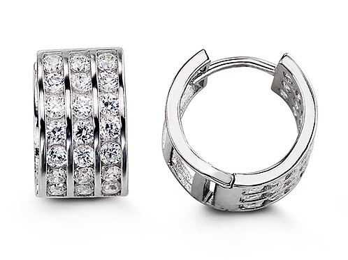 Sterling Silver CZ Huggies, Three Row Channel (Large)