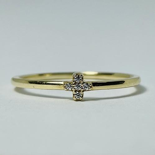 10kt Gold CZ Clover Ring