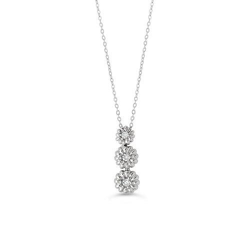 10K WG 0.053CT Diamond Past Present Future Daisy Pendant with Chain