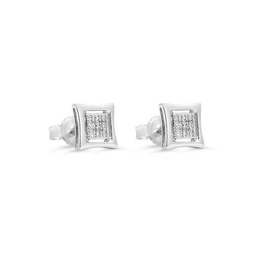 10K WG 0.05CT Diamond Pave Square Stud Earrings