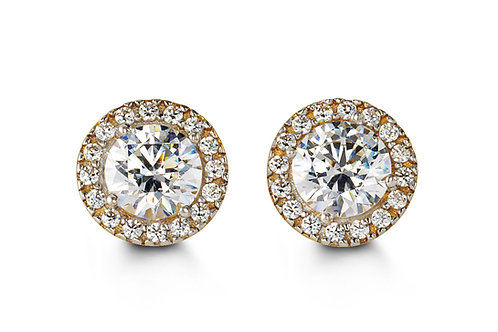 10kt Gold CZ Halo Stud Earrings (Glory Collection)