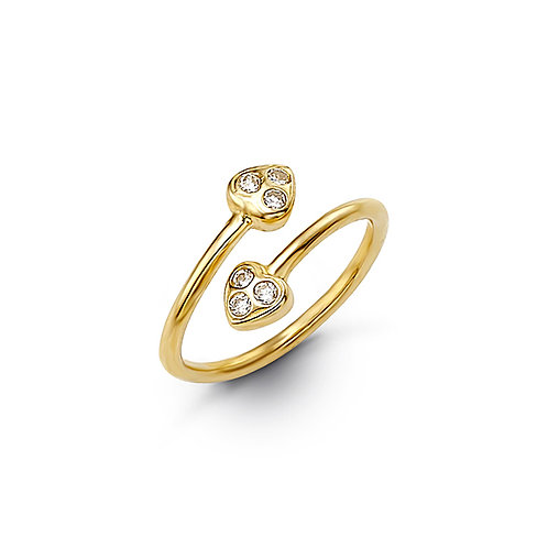 10kt Gold Toe Ring with CZ, Heart Design