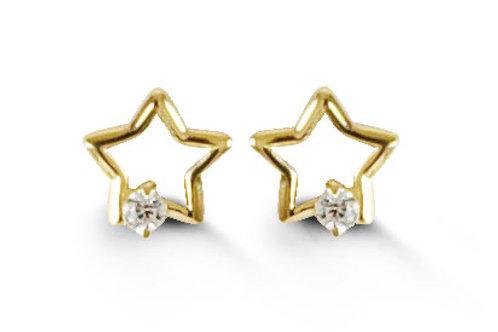 14kt Gold Baby Bella Star Earring Studs