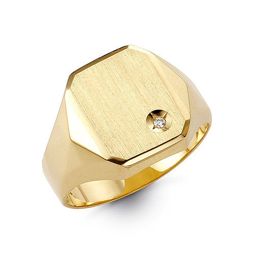 10kt Gold Bella Fierce Men's Diamond  Signet Ring