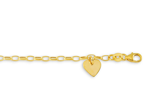 10kt Gold Baby Bella Charm Bracelet with Heart