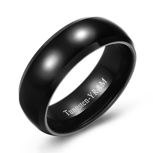 8mm Black tungsten band domed centre high polish
