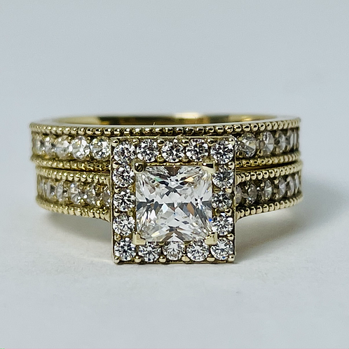 10kt Gold Princess-cut CZ Set