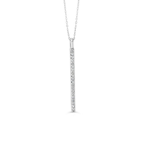 10K WG 0.10CT Diamond Vertical Bar Pendant with Chain