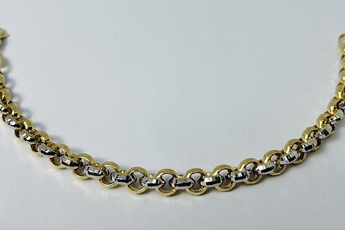 10kt Gold Two-Tone Diamond Cut Charm Bracelet