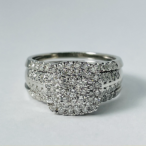 10kt White Gold Diamond Engagement Ring with Matching Diamond Jacket