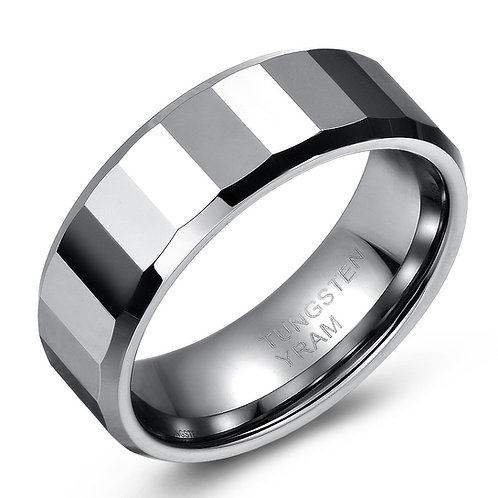 8mm Tungsten band with high polish mirror finish facets, tapered edges