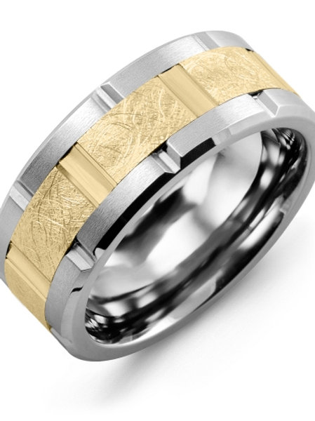 Men's Textured Grooved Wedding Ring