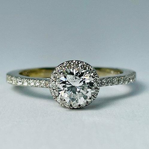18kt White Gold Diamond Halo Engagement Ring