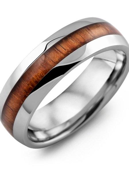 Men's Polished Dome Koa Wood Tungsten Wedding Band